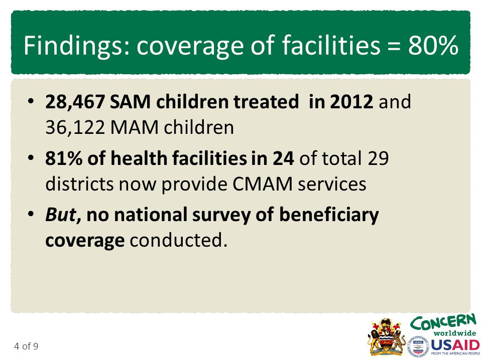 4 of 9 Findings: coverage of facilities = 80% 28,467 SAM children treated in 2012 and 36,122 MAM children 81% of health facilities in 24 of total 29 districts now provide CMAM services But, no national survey of beneficiary coverage conducted.