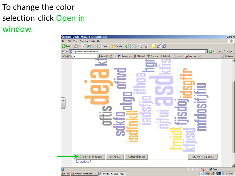 To change the color selection click Open in window.