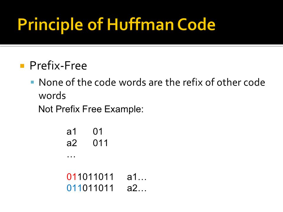  Prefix-Free  None of the code words are the refix of other code words Not Prefix Free Example: a1 01 a2 011 … 011011011 a1… 011011011 a2…