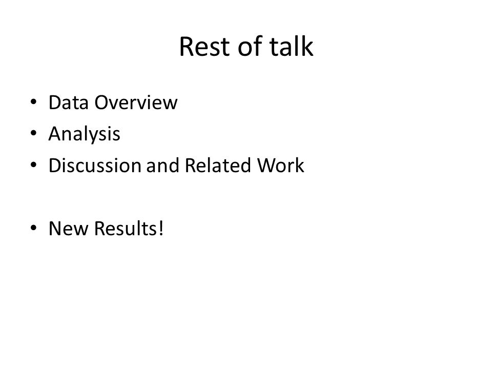 Rest of talk Data Overview Analysis Discussion and Related Work New Results!