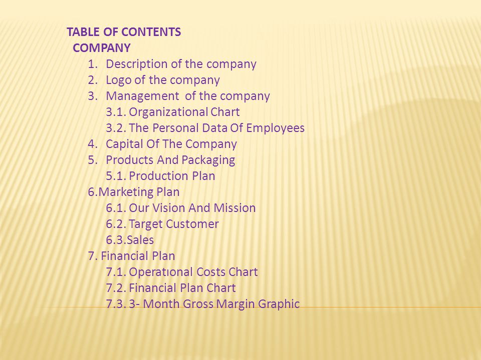 TABLE OF CONTENTS COMPANY 1.Description of the company 2.Logo of the company 3.Management of the company 3.1.