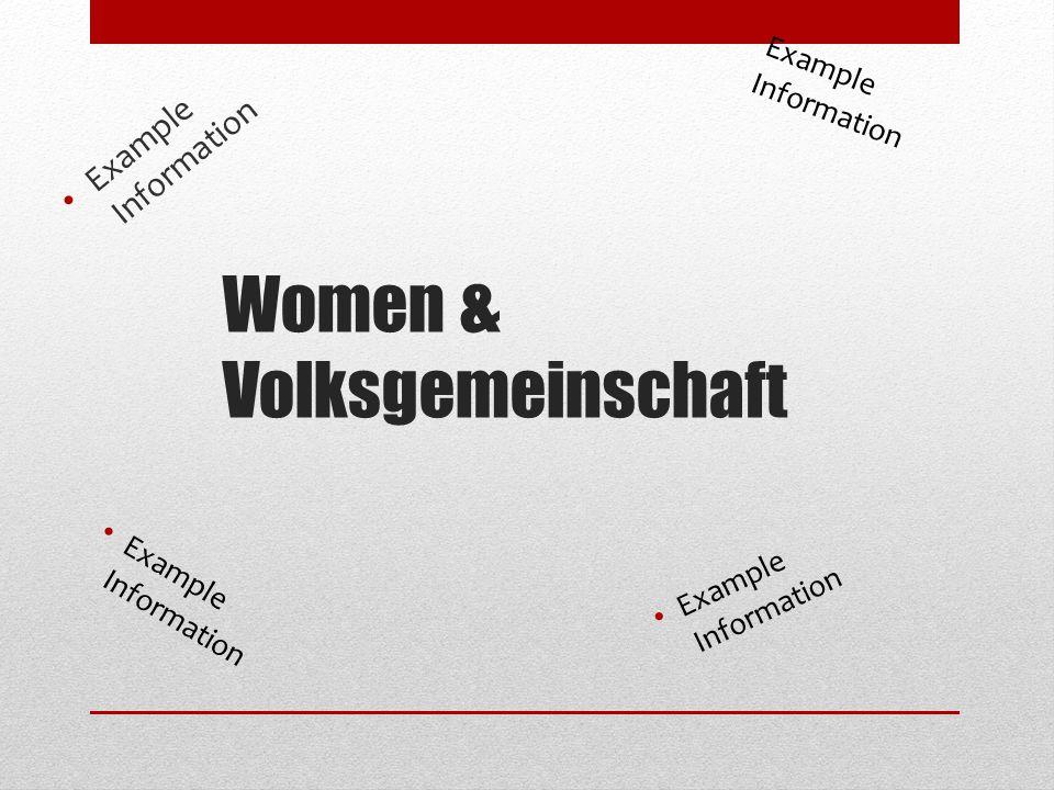Women & Volksgemeinschaft Example Information