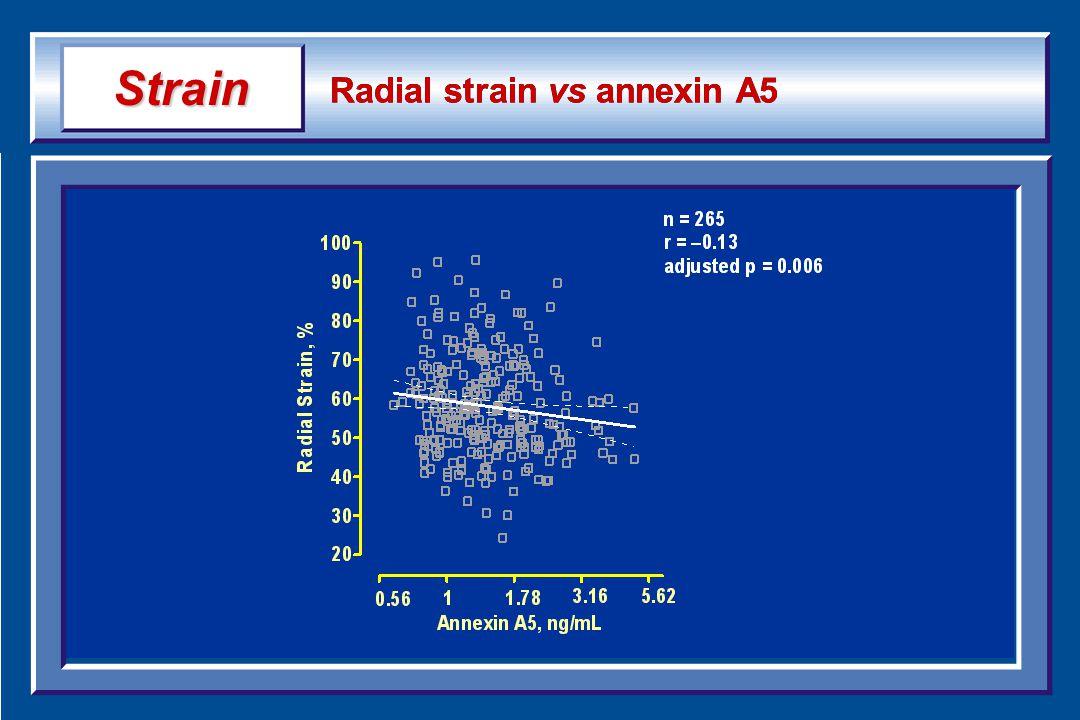 Radial strain vs annexin A5 Strain