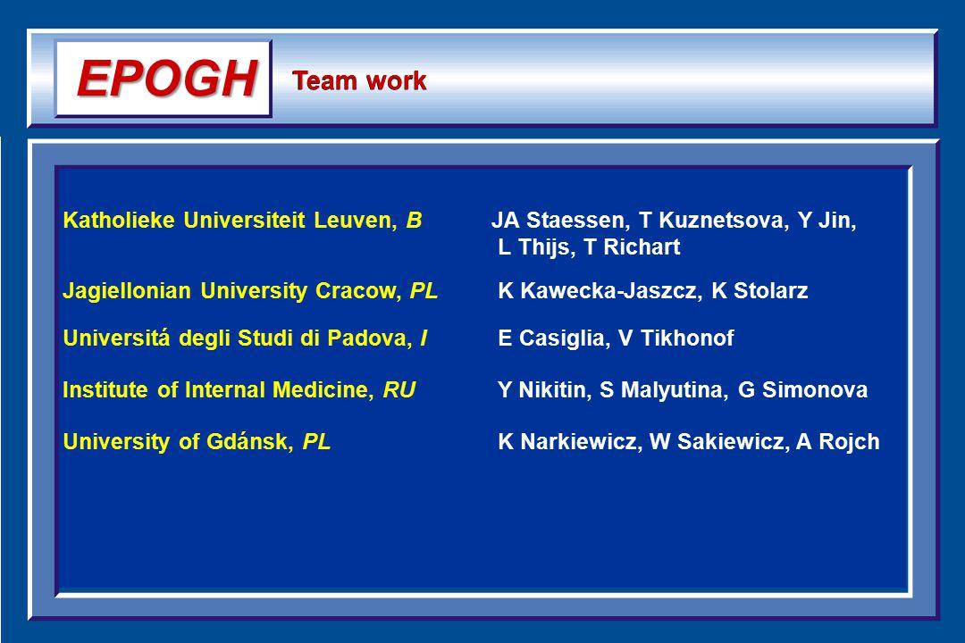 Katholieke Universiteit Leuven, BJA Staessen, T Kuznetsova, Y Jin, L Thijs, T Richart Jagiellonian University Cracow, PL K Kawecka-Jaszcz, K Stolarz U