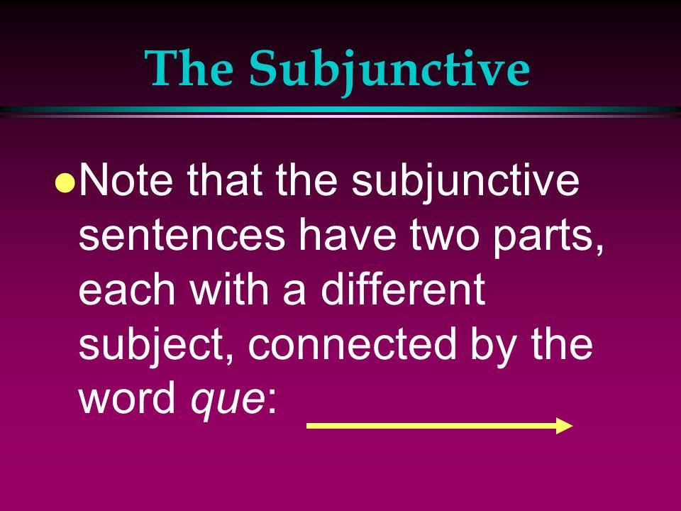 The Subjunctive l Es necesario que hagas ejercicio. l It's necessary that you do exercise. l Es importante que los jóvenes coman bien. l It's importan