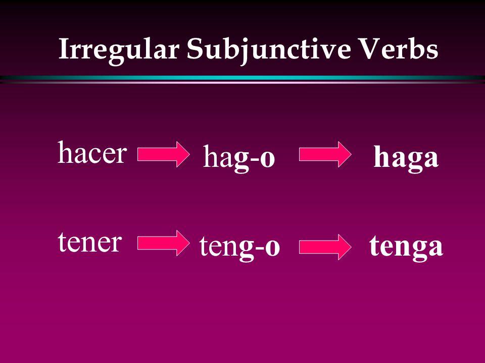 Irregular Subjunctive Verbs l venir l decir l hacer l poner l salir l tener l traer