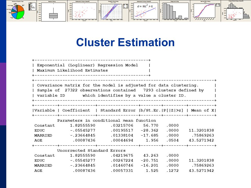 Cluster Estimation +---------------------------------------------+ | Exponential (Loglinear) Regression Model | | Maximum Likelihood Estimates | +---------------------------------------------+ +-----------------------------------------------------------------------+ | Covariance matrix for the model is adjusted for data clustering.