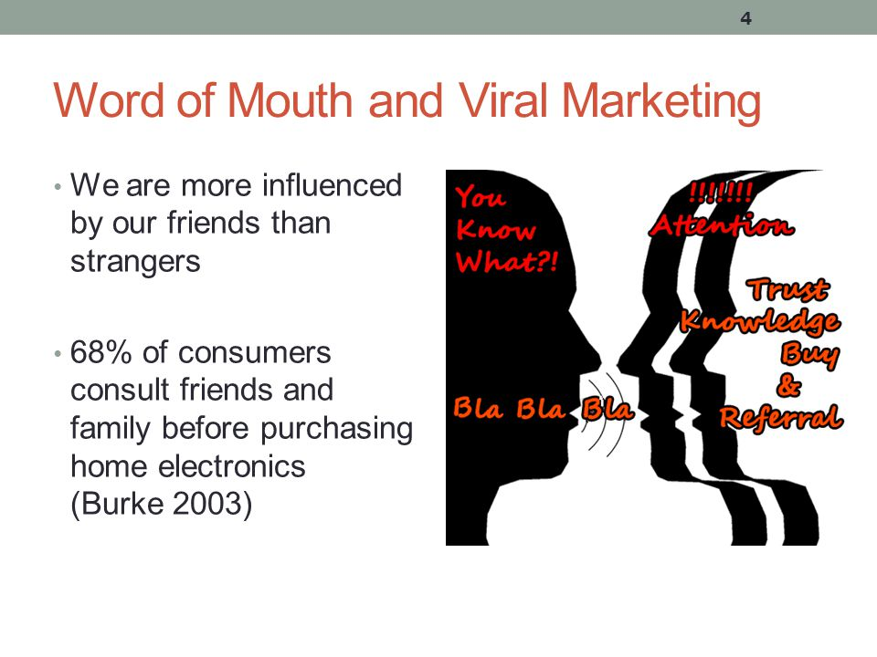 Word of Mouth and Viral Marketing We are more influenced by our friends than strangers 68% of consumers consult friends and family before purchasing home electronics (Burke 2003) 4
