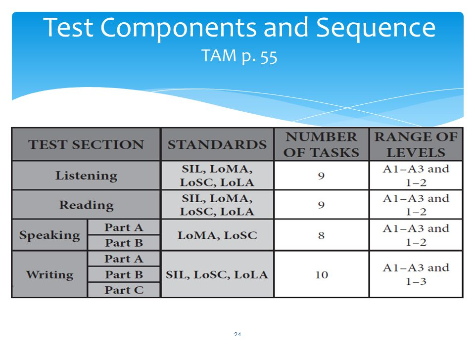 Test Components and Sequence TAM p