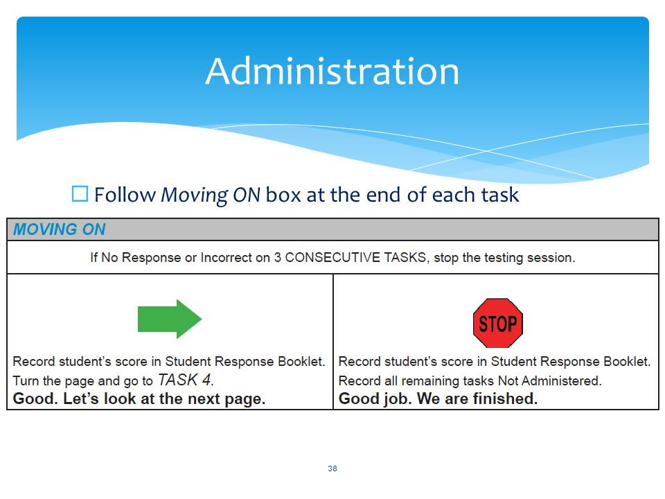  Follow Moving ON box at the end of each task 38 Administration