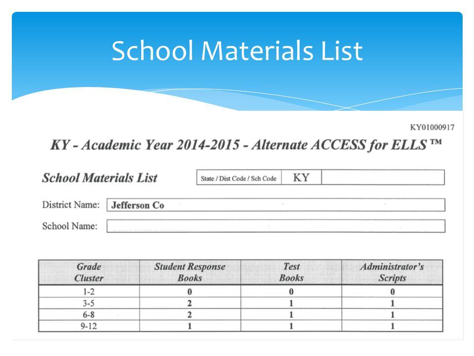 School Materials List 66