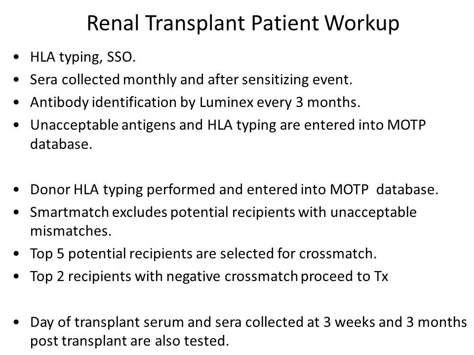Renal Transplant Patient Workup HLA typing, SSO.