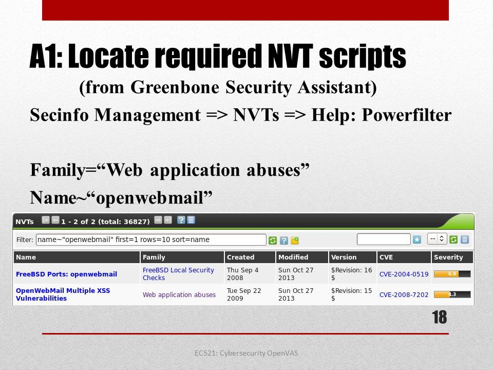 EC521: Cybersecurity OpenVAS A1: Locate required NVT scripts (from Greenbone Security Assistant) Secinfo Management => NVTs => Help: Powerfilter Famil