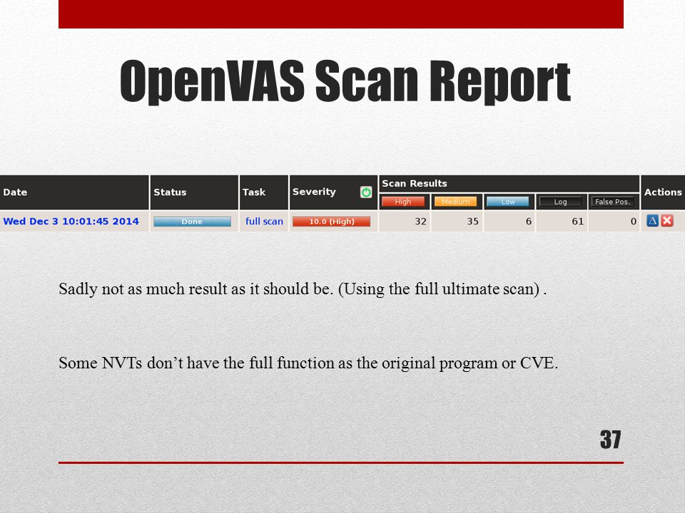 37 OpenVAS Scan Report Sadly not as much result as it should be. (Using the full ultimate scan). Some NVTs don't have the full function as the origina