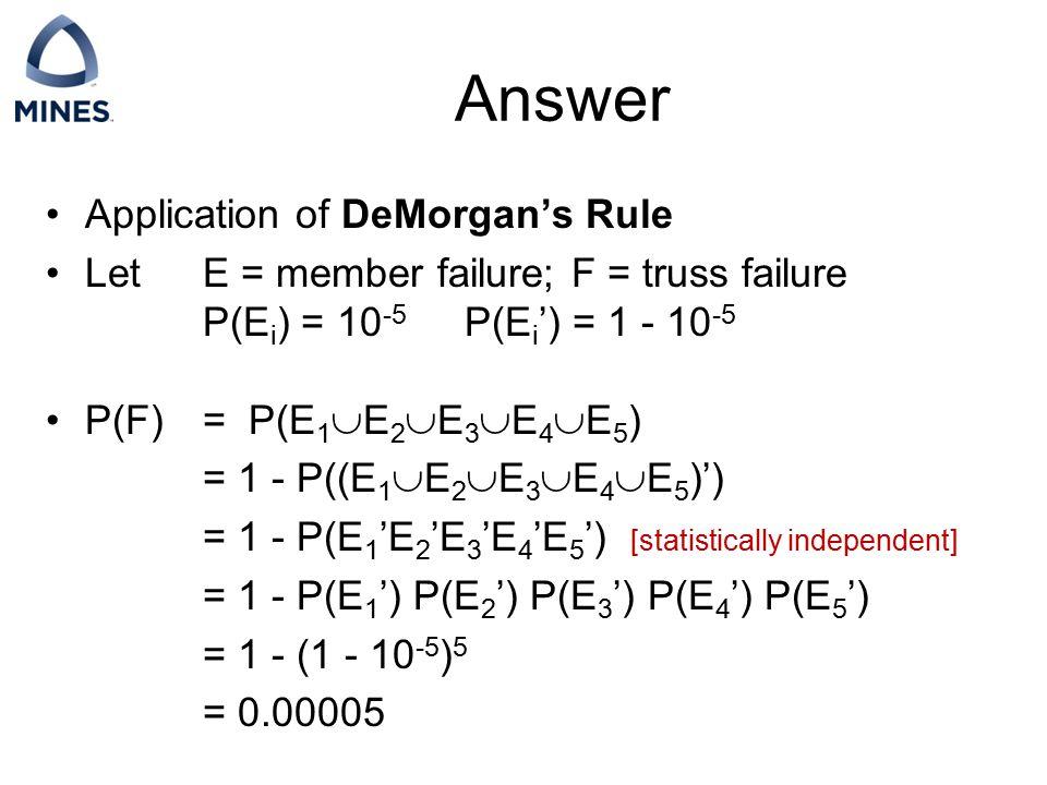 Answer Application of DeMorgan's Rule Let E = member failure; F = truss failure P(E i ) = 10 -5 P(E i ') = 1 - 10 -5 P(F)= P(E 1  E 2  E 3  E 4  E
