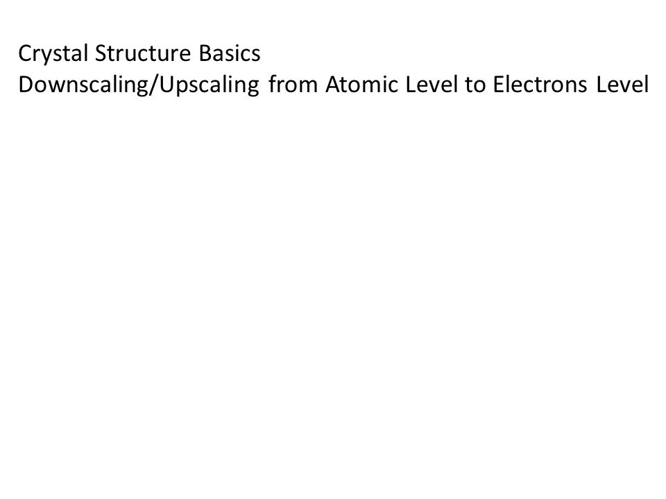 Crystal Structure Basics Downscaling/Upscaling from Atomic Level to Electrons Level