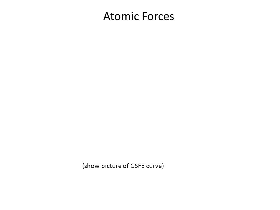 Atomic Forces (show picture of GSFE curve)