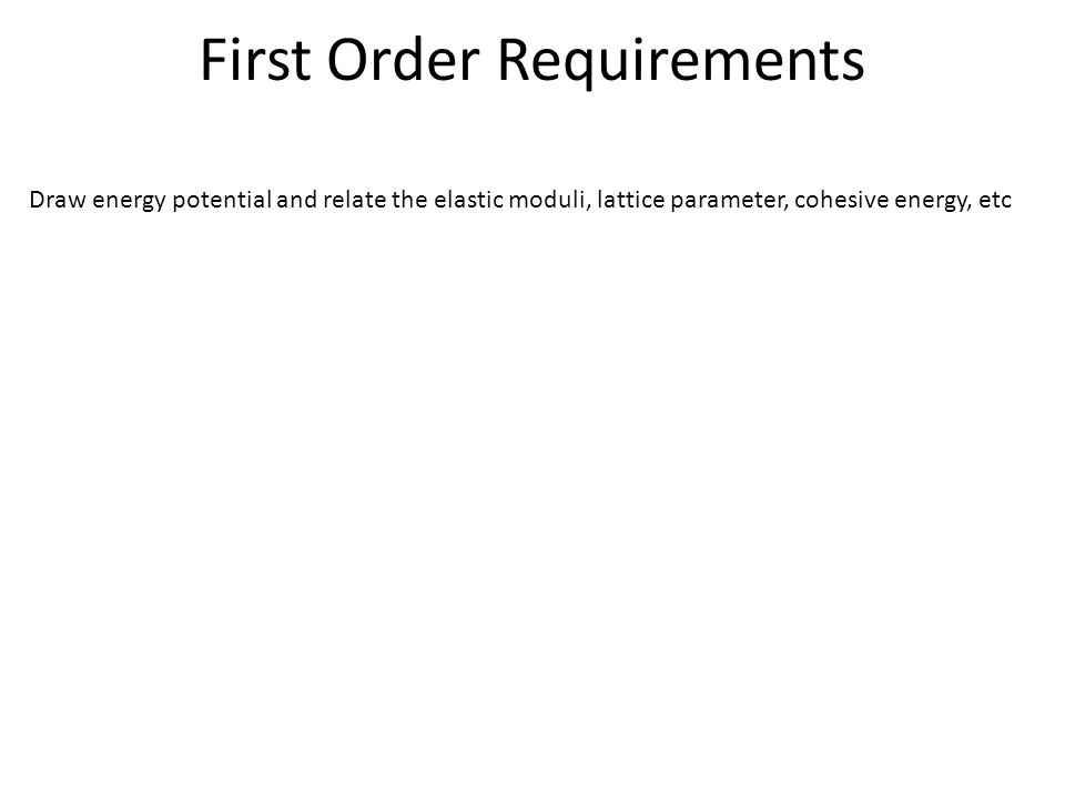 First Order Requirements Draw energy potential and relate the elastic moduli, lattice parameter, cohesive energy, etc