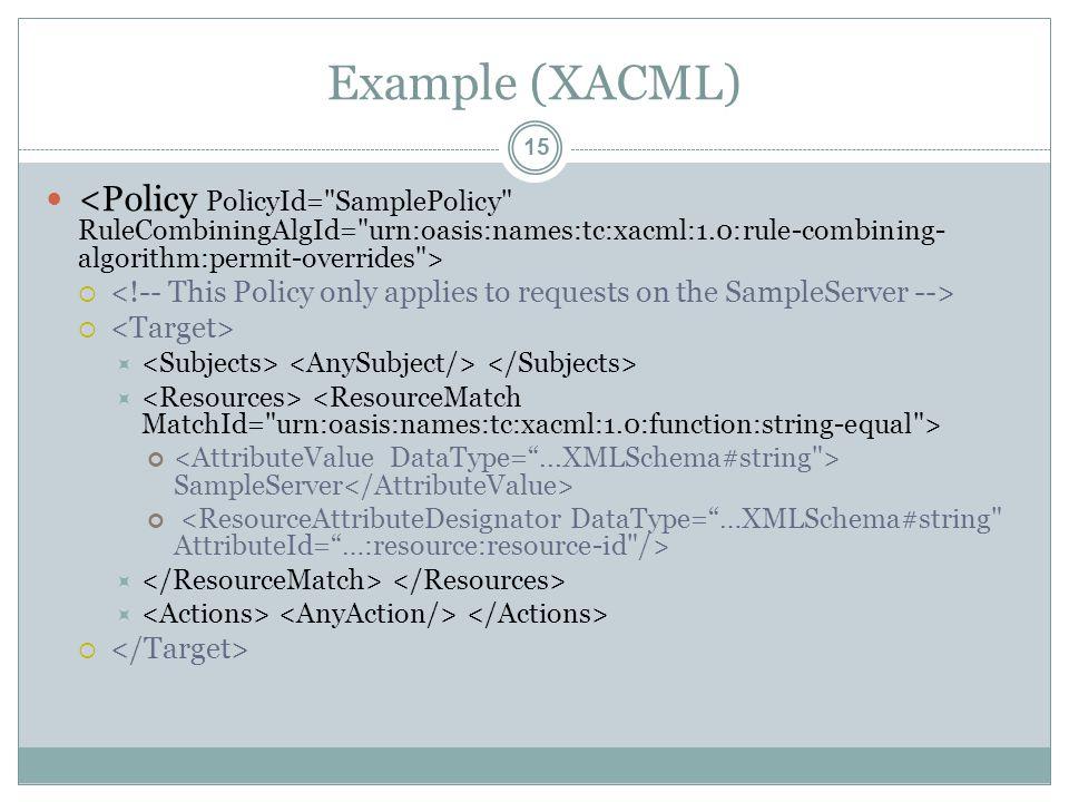 Example (XACML)   SampleServer   15