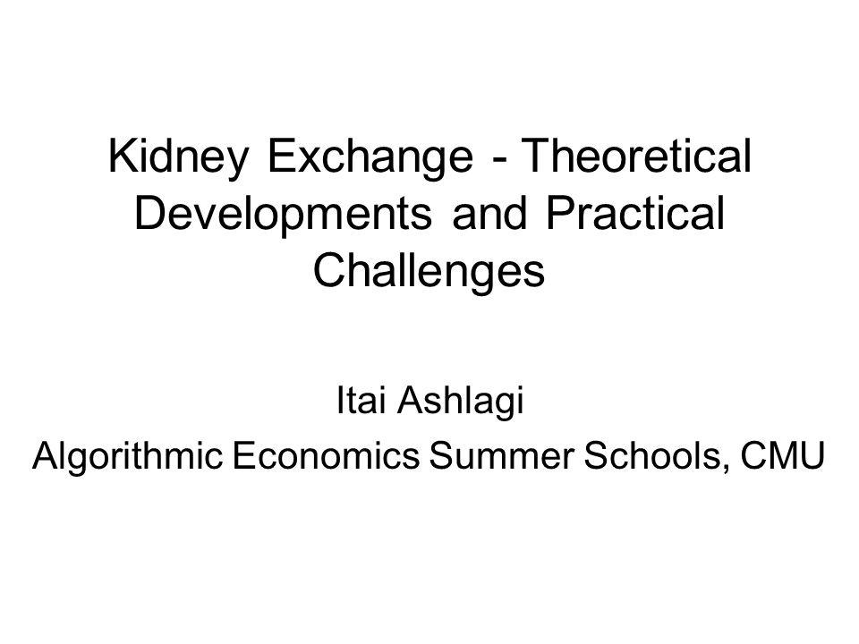 Kidney Exchange - Theoretical Developments and Practical Challenges Itai Ashlagi Algorithmic Economics Summer Schools, CMU
