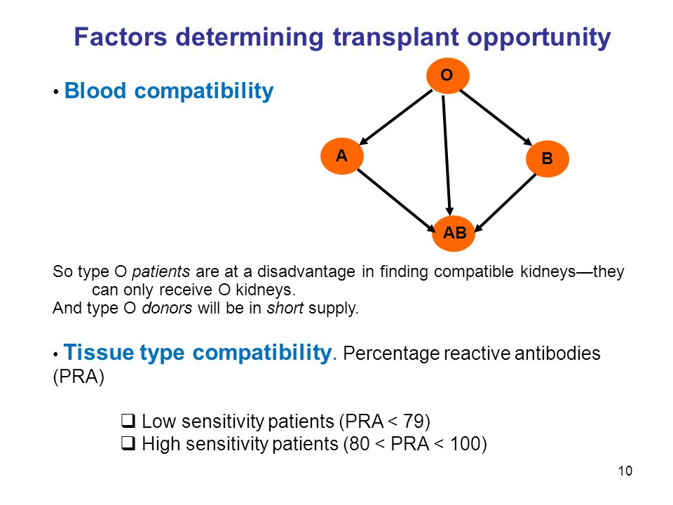 Factors determining transplant opportunity Blood compatibility So type O patients are at a disadvantage in finding compatible kidneys—they can only re