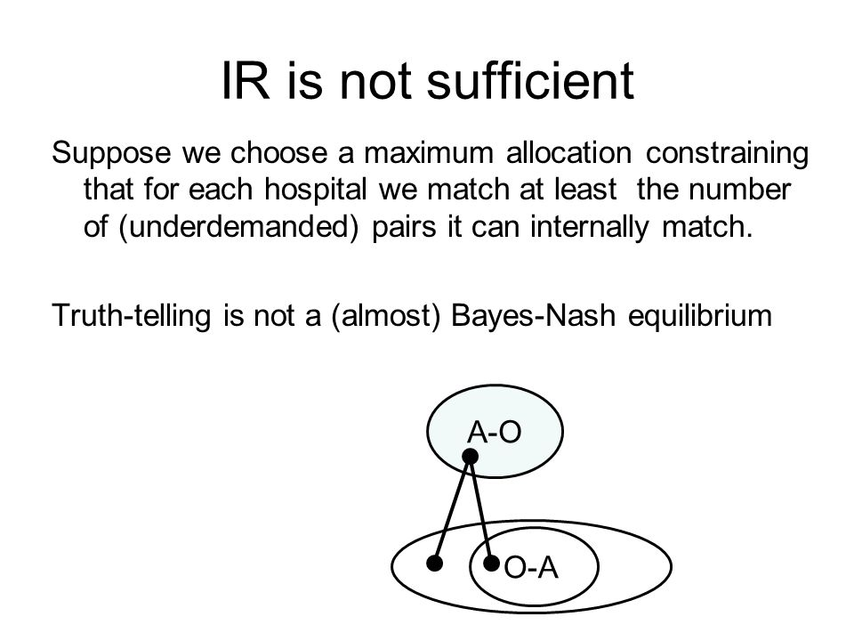 IR is not sufficient Suppose we choose a maximum allocation constraining that for each hospital we match at least the number of (underdemanded) pairs it can internally match.