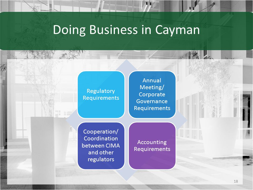 Doing Business in Cayman Regulatory Requirements Annual Meeting/ Corporate Governance Requirements Cooperation/ Coordination between CIMA and other regulators Accounting Requirements 18