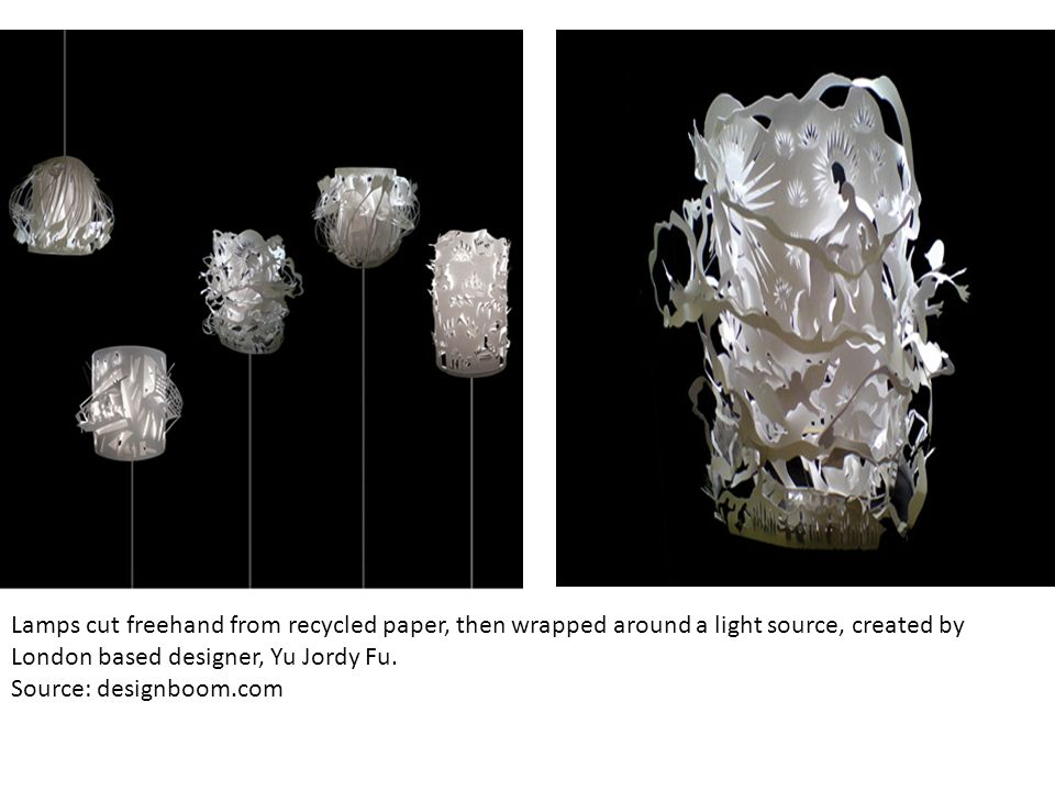 Lamps cut freehand from recycled paper, then wrapped around a light source, created by London based designer, Yu Jordy Fu.
