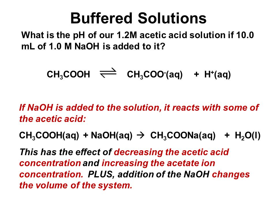 Buffered Solutions What is the pH of our 1.2M acetic acid solution if 10.0 mL of 1.0 M NaOH is added to it? CH 3 COOH CH 3 COO - (aq) + H + (aq) If Na