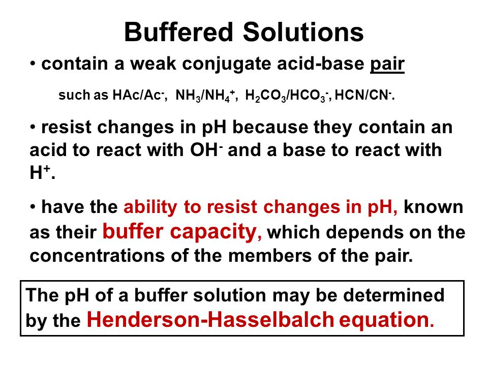 Buffered Solutions contain a weak conjugate acid-base pair such as HAc/Ac -, NH 3 /NH 4 +, H 2 CO 3 /HCO 3 -, HCN/CN -. resist changes in pH because t