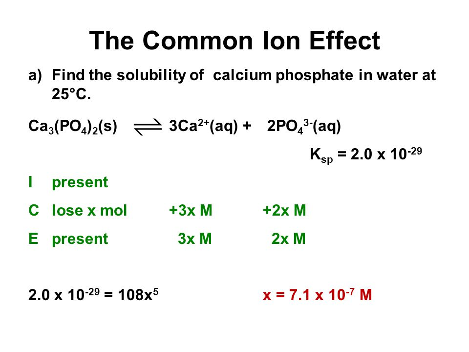 The Common Ion Effect a)Find the solubility of calcium phosphate in water at 25°C. Ca 3 (PO 4 ) 2 (s) 3Ca 2+ (aq) + 2PO 4 3- (aq) K sp = 2.0 x 10 -29