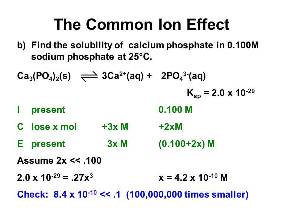 The Common Ion Effect a) Find the solubility of calcium phosphate in water at 25°C.
