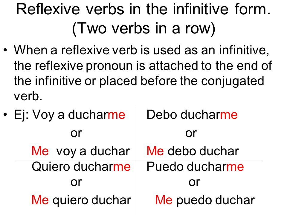 Reflexive verbs in the infinitive form.