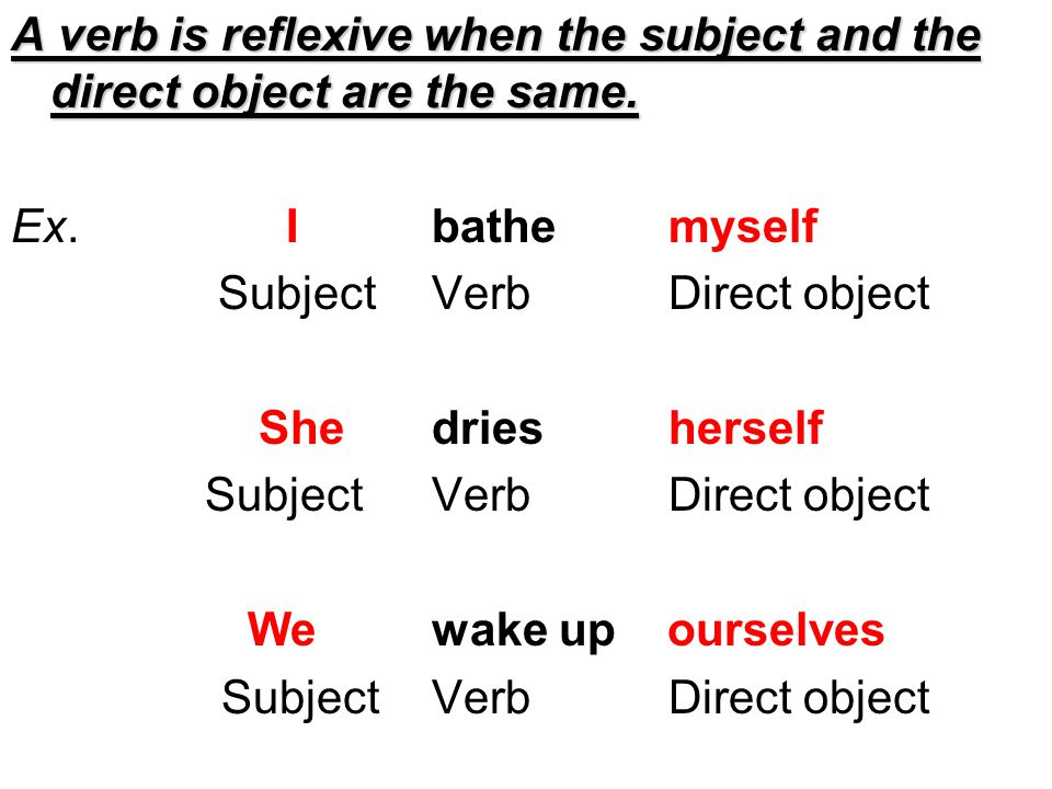 A verb is reflexive when the subject and the direct object are the same.