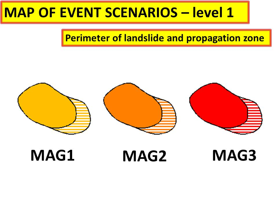 MAP OF EVENT SCENARIOS – level 1 Perimeter of landslide and propagation zone MAG1 MAG2 MAG3