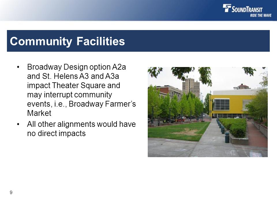 Community Facilities Broadway Design option A2a and St.