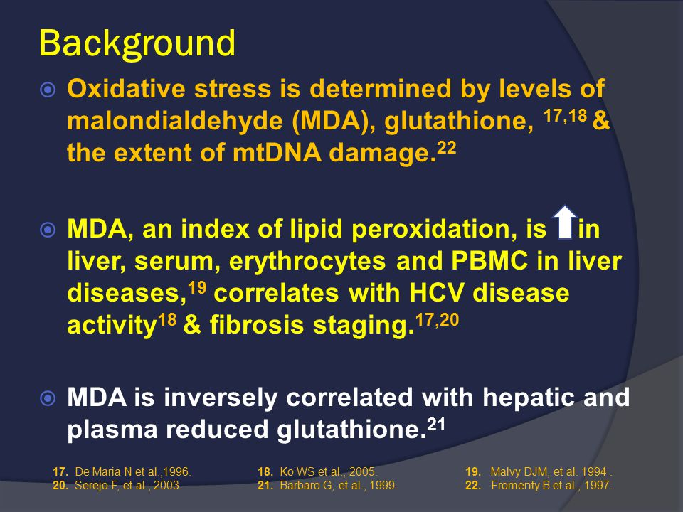 Background  Oxidative stress is determined by levels of malondialdehyde (MDA), glutathione, 17,18 & the extent of mtDNA damage.