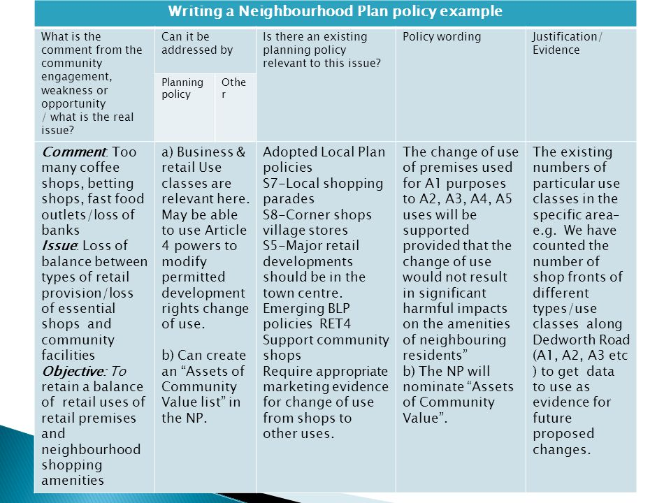 Writing a Neighbourhood Plan policy example What is the comment from the community engagement, weakness or opportunity / what is the real issue? Can i