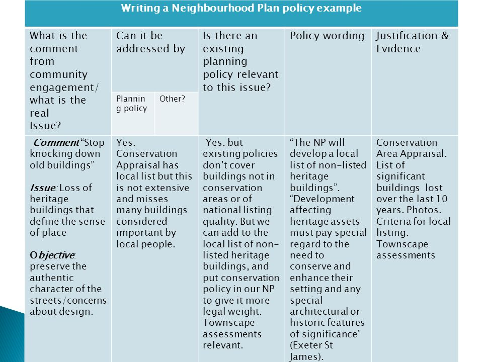 Writing a Neighbourhood Plan policy example What is the comment from community engagement/ what is the real Issue.