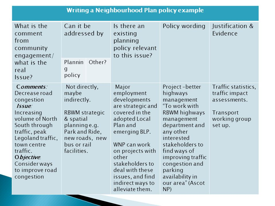 Writing a Neighbourhood Plan policy example What is the comment from community engagement/ what is the real Issue? Can it be addressed by Is there an