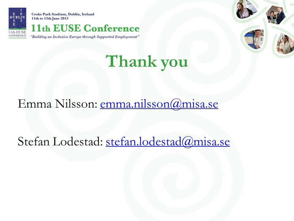 Thank you Emma Nilsson: emma.nilsson@misa.seemma.nilsson@misa.se Stefan Lodestad: stefan.lodestad@misa.sestefan.lodestad@misa.se