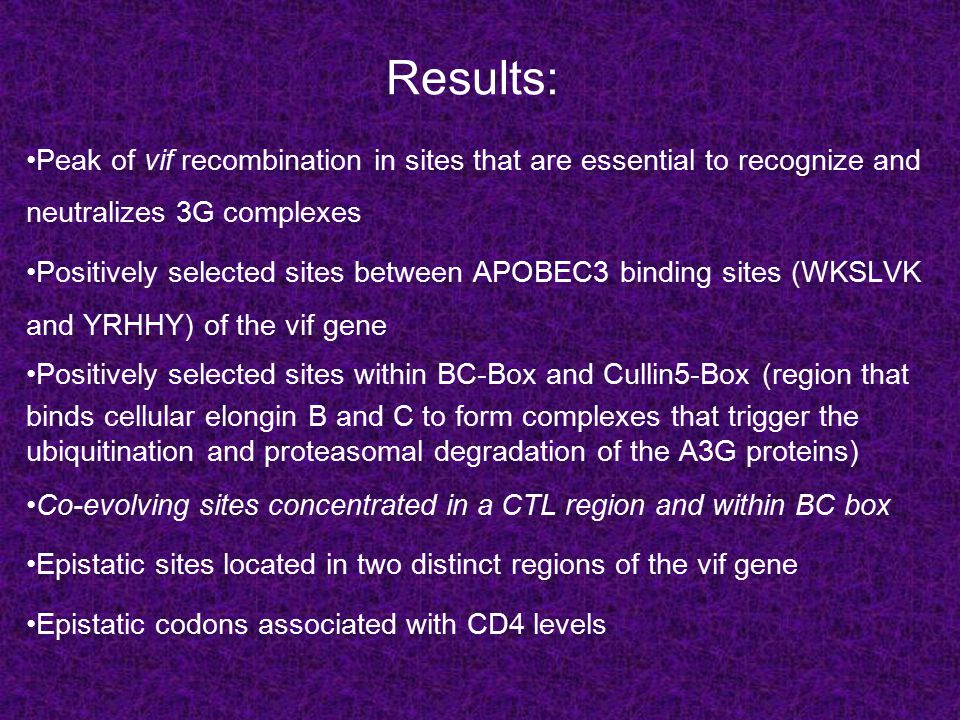 Results: Peak of vif recombination in sites that are essential to recognize and neutralizes 3G complexes Positively selected sites between APOBEC3 binding sites (WKSLVK and YRHHY) of the vif gene Positively selected sites within BC-Box and Cullin5-Box (region that binds cellular elongin B and C to form complexes that trigger the ubiquitination and proteasomal degradation of the A3G proteins) Co-evolving sites concentrated in a CTL region and within BC box Epistatic sites located in two distinct regions of the vif gene Epistatic codons associated with CD4 levels