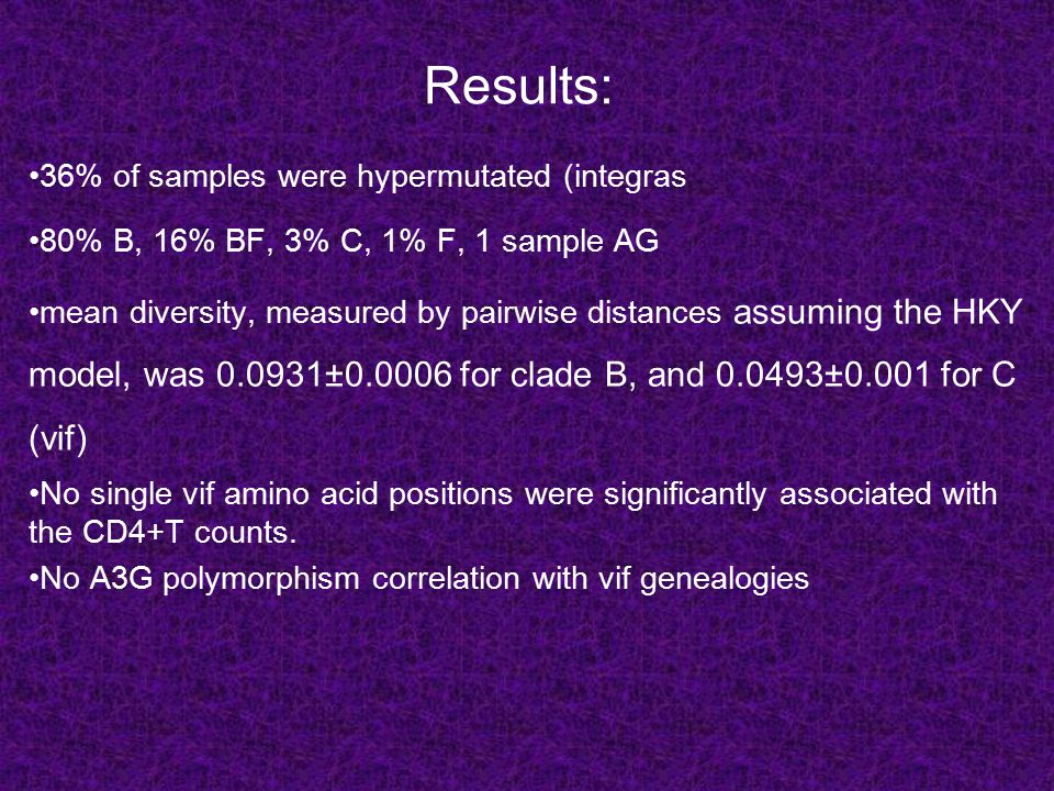 Results: 36% of samples were hypermutated (integras 80% B, 16% BF, 3% C, 1% F, 1 sample AG mean diversity, measured by pairwise distances assuming the HKY model, was 0.0931±0.0006 for clade B, and 0.0493±0.001 for C (vif) No single vif amino acid positions were significantly associated with the CD4+T counts.