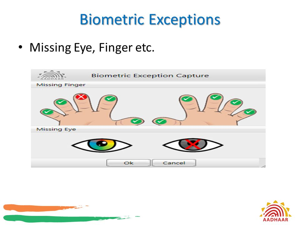 Biometric Exceptions Missing Eye, Finger etc.
