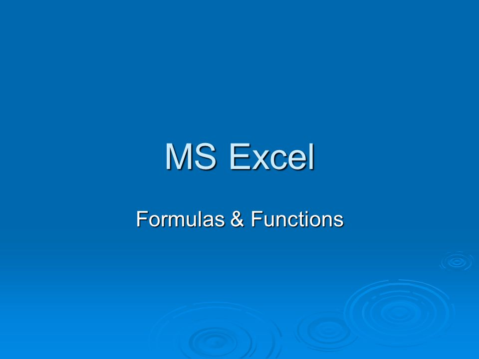 Parts of a Function  Excel has a number of built in functions to perform common calculations =SUM(E9:E11) Equals Sign Function Name Colon Cell Reference Brackets Column Letter Row Number