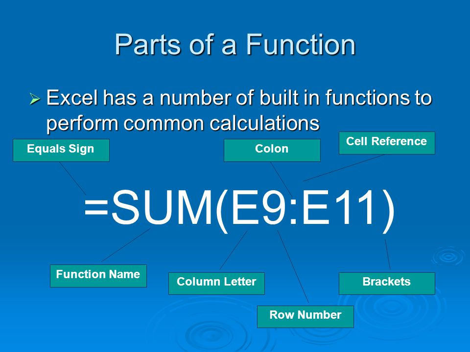 Parts of a Function  Excel has a number of built in functions to perform common calculations =SUM(E9:E11) Equals Sign Function Name Colon Cell Reference Brackets Column Letter Row Number