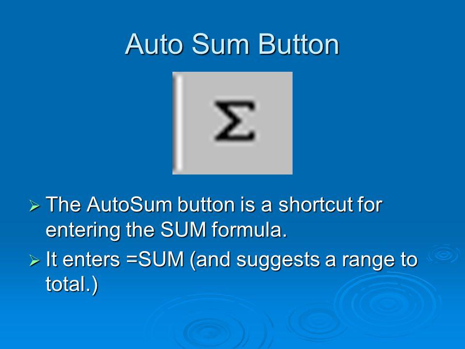 Auto Sum Button  The AutoSum button is a shortcut for entering the SUM formula.