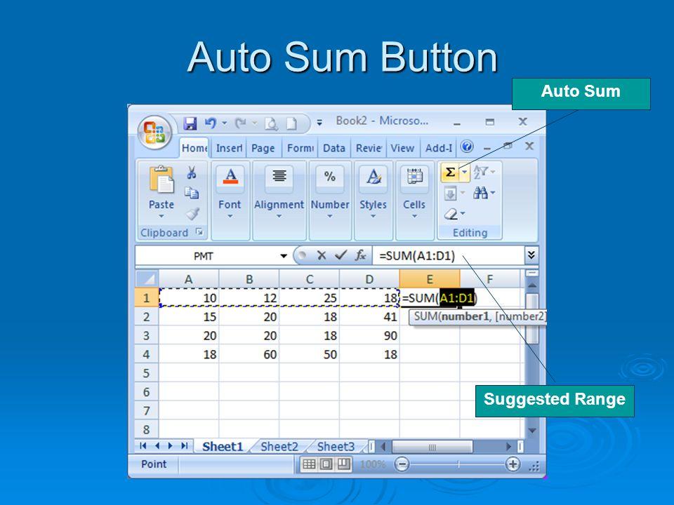 Auto Sum Button Auto Sum Suggested Range