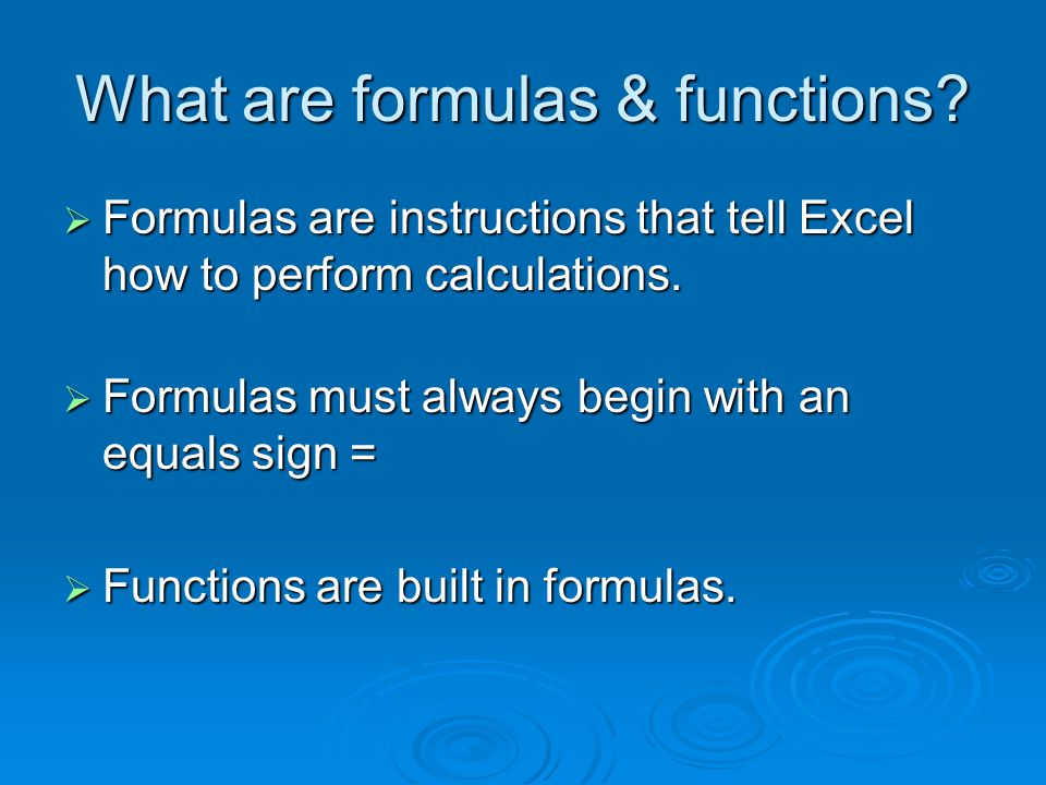 MS Excel – Inserting Functions  You can enter a function manually by typing it into the formula bar.