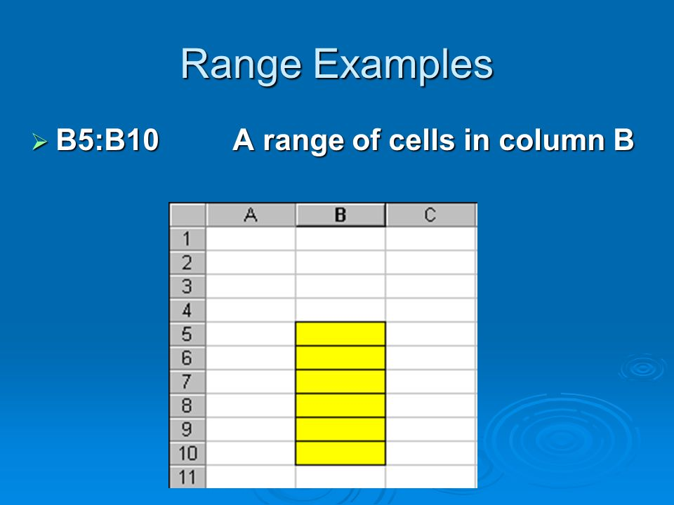 Range Examples  B5:B10A range of cells in column B